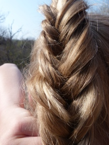 French plaiting my ponytail, not bad for only my second attempt!