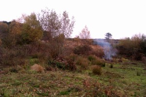 The scrub-bashing area with the fire on the right