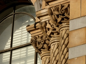 Beautiful carvings alongside a window