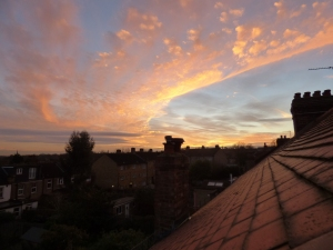 Sunset across the roofs of London