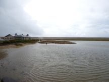 High tide by the Chesil Beach Centre