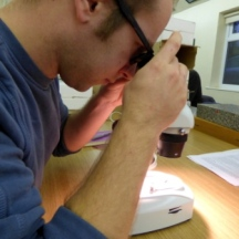 Matt using the microscope