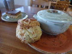 Soup, cheese scone and Millionaire's Shortbread in the Farm Cafe